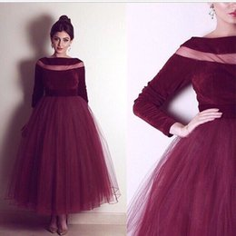 Robe De Longueur Cheville Bordeaux Pas Cher-2017 Sexy Burgundy Arab Long Sleeves Velvet A Line Robes de cocktail Sheer Tulle Ankle Length Party Evening Prom Robes