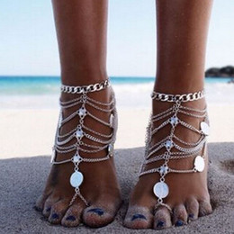 Anklet Toe Chain Australia - Vintage Cheap Barefoot Beach Sandals For Weddings Silver Anklets Chain Gold Coin Tassels Toe Ring Beading Bridal Bridesmaid Foot Jewelry