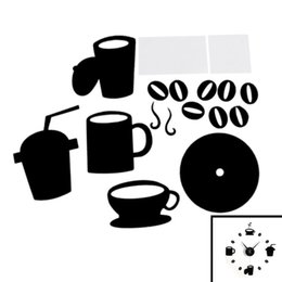 Wall Watch Silent Canada - Wholesale- DIY Modern Home Decoration Large Coffee Cup Decal Kitchen Wall Clocks Silent Watch Decals (Black)
