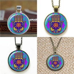 Hamsa earrings online shopping - 10pcs Hamsa Hand Protection Pendant good Fortune Necklace keyring bookmark cufflink earring bracelet