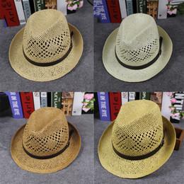 8851b04cc9066 Spring Summer Men Women Handmade Fedora Panama Hats Soft Fashion Hollow  Beach Sun Hats British Style Jazz Cap Leather Buckle GH-83