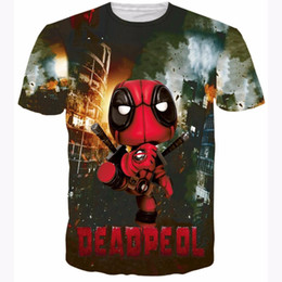Camisa X Baratos-Comic Q Version X-men Deadpool camisetas Cute Kid Deadpool camiseta Hombres Mujeres Summer Hipster 3D camiseta Harajuku tee tops