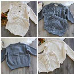 Barato Babys Casacos Atacado-New Wholesale Babys Fashion Knitted Set Sweater Coat + Short High Quality Soft Autumn Babys Suits Z423