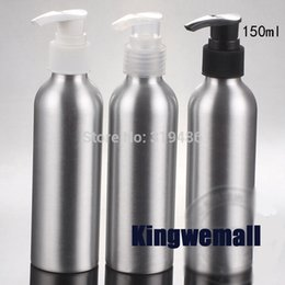 $enCountryForm.capitalKeyWord Canada - 300pcs lot Cosmetic Packaging 150ml Aluminum Lotion bottle, Metal Container with Press Pump, DIY Liquid Storage Tool