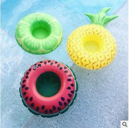 Inflatable Pools Wholesale Canada - Inflatable donuts tubes coke Phone Cup Holder swim pool floating toys fruit Sweet Buns Cup Holder Drink Botlle Holder