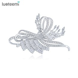 Hair Color For Asians UK - Butterfly Shape Hair Accessories for Women Micro Paved CZ White-Gold Color Jewelry Christmas Gift LUOTEEMI