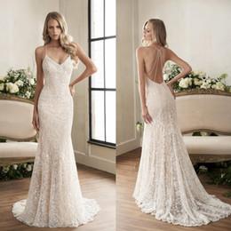 Discount jasmine garden - Jasmine 2019 Crystal Mermaid Wedding Dresses Vestido De Novia Sexy Spaghetti Neckline Backless Bridal Gowns Full Lace Tr