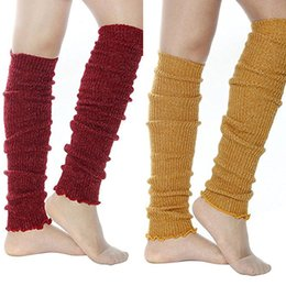 Barato Malha De Costura Por Atacado-Atacado- Mulheres Girl Cable Knit Ribbed Over the Knee Leg Warmers Long Boot Cuffs Toppers