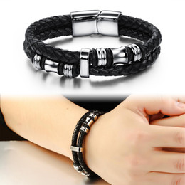 Silver Magnetic Bracelets For Men NZ - Handmade Weave Double Layer Leather 316L Stainless Steel Wrap Bracelet for Men Magnetic Clasp Silver Black,18.5cm 20.5cm 22cm