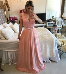 $enCountryForm.capitalKeyWord Canada - Sexy Long Pink Prom Dresses 2017 Short Sleeve Square Neck Beaded Chiffon Lace Prom Dress Arabic Formal Pageant Gowns