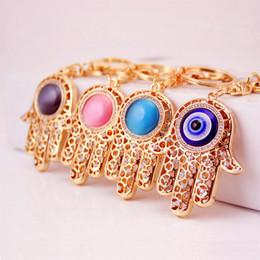 $enCountryForm.capitalKeyWord NZ - Lucky Charm Amulet Hamsa Fatima Hand Evil Eye Keychain Purse Bag Buckle Pendant Key ring key chain Wedding Favors + DHL free shipping