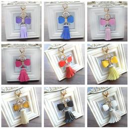 $enCountryForm.capitalKeyWord Canada - Brand new Creative diamond PU leather tassel key ring car key ring fashion bag pendant KR303 Keychains mix order 20 pieces a lot