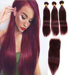 $enCountryForm.capitalKeyWord NZ - Burgundy Wine Red 99J Brazilian Virgin Hair Weave Bundles with closure Malaysian Straight Baby Human Hair Extension