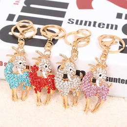 sheep zodiac 2019 - Diamoante metal sheep shape key chain Chinese zodiac sheep key ring Multicolor creative personality bags fanshion access
