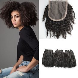 $enCountryForm.capitalKeyWord NZ - 100% Human Hair Mongolian Afro Kinky Curly Lace Closure With 3pcs Human Hair Weave Bundles G-EASY