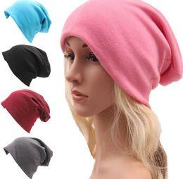 45dd652699d7 Women Fashion 20candy color Autumn winter new street style hip hop loose  knit cotton hat high grade Beanie Caps CC581