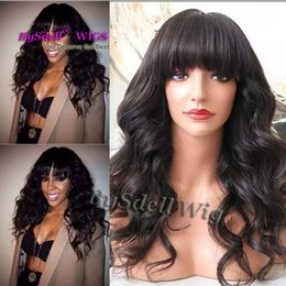 Discount fringe wigs - neat Bang  Fringe style wig medium length Loose curl black color hair wig Natural work wearing wigs for black  white wom