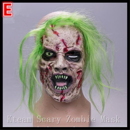 mask horror zombie Canada - Top Grade 100% Latex Halloween Party Cosplay Zombie Mask Horror Full Face mask Party Scary Ghoat Mask Fancy dress costume Free shipping