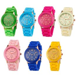 Candy Colored watChes online shopping - 100pcs Fashion Shadow Rose Gold Colored Style Geneva Watch Rubber Silicon Candy Jelly Fashion Men Wamen Silicone Quartz Watches