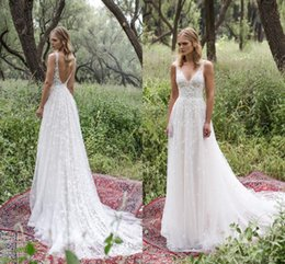 Sheath romantic wedding dreSSeS online shopping - Romantic Limor Rosen Sheath Wedding Dresses Deep V Neck Sheer Straps Heavy Embellishment Lace Vintage Garden Beach Bridal Gowns