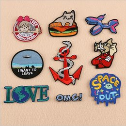 love boat clothing Canada - 9PCS SET Elephant boat anchor love cat dog OMG Cartoon Iron On Cheap Embroidered Cute Patches For Clothes Shoes Heart Badges Stickers