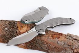 $enCountryForm.capitalKeyWord Australia - China Brand High End Flipper Knife D2 Satin Blade CNC TC4 Titanium Handle Outdoor Camping Hiking Survival Tactical Knife EDC Gear
