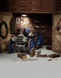 vinyl backdrops bricks 2019 - Vintage Garage Photography Backdrop Blue Car Wooden Door Brick Wall Repair Tools Children Kids Photo Booth Backgrounds V