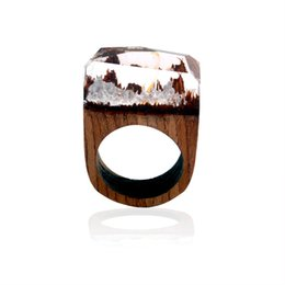 Chinese  Forest Landscape Mountain Resin Ring Wood Ring Crystal Band Ring hand made Fashion Jewelry for Women Gift Drop Shipping manufacturers