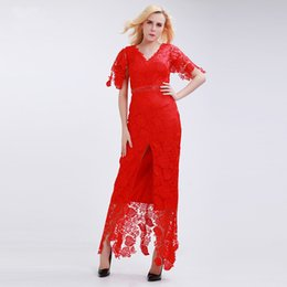 $enCountryForm.capitalKeyWord Canada - Attractive V-neck Half Sleeve Ladies Red Dress Evening Ankle Length Mid Split Dress Banquet Gown For Queen