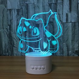 card figures NZ - 3D Squirtle LED Lamp Speaker 5 RGB Lights USB Charging Bluetooth Speaker TF Card Wholesale Dropshipping