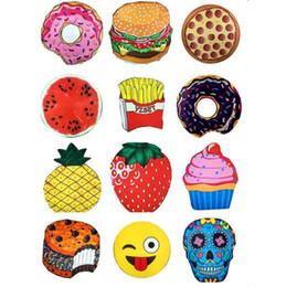 Emoji Towels NZ - Mandala Tapestry Chiffon Skull Ice Cream Berry Beach Towel Emoji Pineapple Shawl Watermelon Hamburg Pizza Donut Scarf Yoga Mats OOA1541