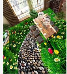 Chinese  Photo cusotom any size flowers and grassland natural floor waterproof wallpaper for bathroom wall manufacturers
