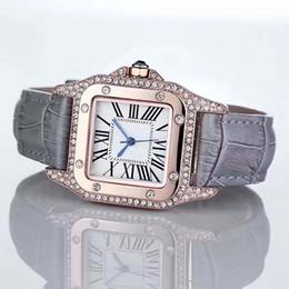Red diamond stone online shopping - Fashion Luxury Watches Unisex Women Men Watch Square Diamonds Bezel Leather Strap Top Brand Quartz Wristwatches for Men Lady Best Gift