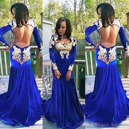 velvet gown style lace Canada - Arabic Style Women 2017 Mermaid Prom Dresses High Neck Open Breast Backless Court Train Royal Blue Evening Dresses Velvet Formal Party Gowns
