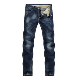 Chinese  Wholesale- 2017 Fashion Men's Jeans Classic Stretch Dark Blue Business Casual Pants Tapered Slim Fit Scratched Long Trousers Gentleman 36 manufacturers