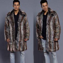 Suits Contrasting Lapels Australia - Men's Leopard Striped Faux Fur Long Coat Long Sleeve Lapel Neck Suit Jacket Cool Winter Warm Overcoat Streetwear S-3XL