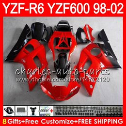 Yamaha Yzf r6 99 online shopping - 8Gifts Color For YAMAHA YZF600 YZF R6 YZFR6 HM18 red black YZF YZF R600 YZF R6 Fairing kit