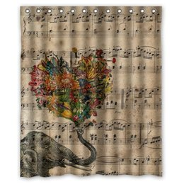 $enCountryForm.capitalKeyWord Canada - Customs 36 48 60 66 72 80 (W) x 72 (H) Inch Shower Curtain Music Note and Elephant Waterproof Polyester Fabric Shower Curtain