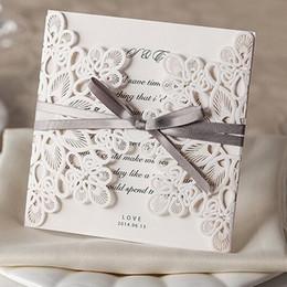 new elegant wedding invitations laser cut customizable hollow crystal lace bow ribbon wedding invitation card supplies printable cards wm207 - Elegant Wedding Invitations With Crystals