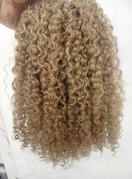 Curl blonde human hair online shopping - brazilian human virgin remy clip ins hair extensions kinky curls hair weft medum brown dark blonde color