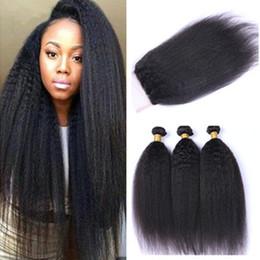 $enCountryForm.capitalKeyWord Canada - 100% Unprocess Virgin Brazilian Yaki Straight Human Hair Weave Extensions 3 Bundle with Closure Natural Color Yaki Hair Extension For Sale