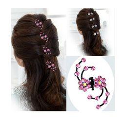 1688c9cea30 2017 New Fashion 12Pcs Girls Crystal Snowflake Hair Clips Hairpins Headwear  Rhinestone Hair Claws Hair Accessories