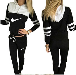 TracksuiTs for women online shopping - 2017 Women Tracksuit Sportswear Set Sports Suit Women Hoodies Sweatshirts Casual Hooded Pants Sport Jogging Suits for running