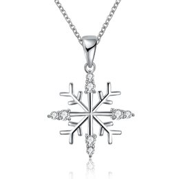 $enCountryForm.capitalKeyWord UK - Women Girl Cute Xmas Gifts Flowers Snowflake Inlaid Cz Zircon Pendant Necklace Simple Jewelry Christmas Zircon Necklace Party Gift Jewelry
