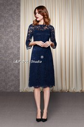 short wedding dress quarter sleeves Australia - Navy Blue Lace Bridesmaid Dresses Three Quarter Sleeves Zipper Back Knee Length Wedding Party Dresses Custom Made Plus Size Garden Style