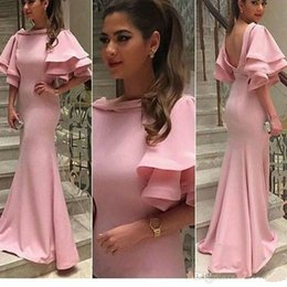 Discount women occasion dress sleeve - High Quality Light Pink Long Prom Dress Unique Poet Half Sleeves Middle East Women Wear Special Occasion Formal Cheap Pa