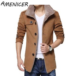 Vente En Gros Noir Homme Pas Cher-Vente en gros- 2016 New Fashion Men Jacket Lambs Wool Lining Coat Hommes Thick Warm Jacket Outerwear Fashion Slim Fit Mens Trench Coat Khaki Black