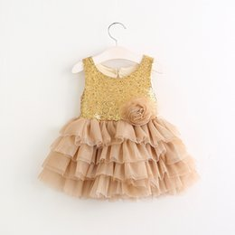 Robes En Couches Pour Bébés Pas Cher-Sweet Baby Girl Sequins Robe Tutu Fleur Ruffles Enfants Girl Sleeveless Cake Layered Robe Princesse Summer Party Dresses