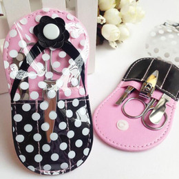 Barato Pedicure Set Favors-Rosa flip-flop kit pedicure chinelo prego conjunto de manicure favores do chuveiro nupcial favor do casamento favor lembranças dom ZA3000