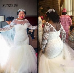 29208d2ee3f Mermaid Plus Size Wedding Dress With Long Sleeves Appliques Top Chapel  Train Tulle Bridal Gowns For Elegant Women